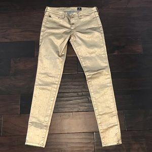 EUC AG Gold Skinny Pants Size 27R